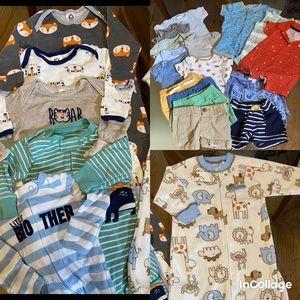 23pc Boy summer 0-3 bundle lot shorts onesie baby